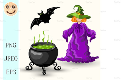 Young witch and cauldron with boiling poison