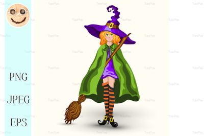 Cartoon witch in purple hat with broom isolated on white