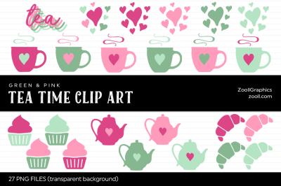 Tea Time Green & Pink Clip Art