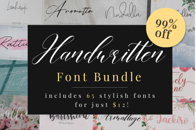 Handwritten Font Bundle 65 in 1