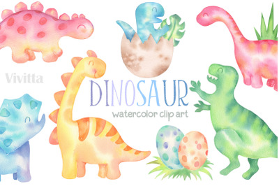 Dinosaur watercolor clipart Dino, T-Rex