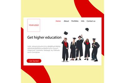 Get highter education landing page