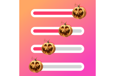Halloween pumpkin on slider bar interface indicator