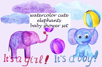 Cute watercolor elephants