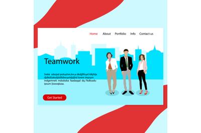 Success teamwork, real confident business team landing page