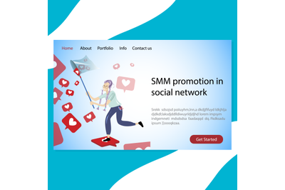 SMM promotion in social network landing page company