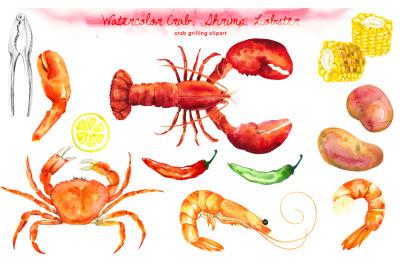 Watercolor Crab, Shrimp, Lobster Cliparts