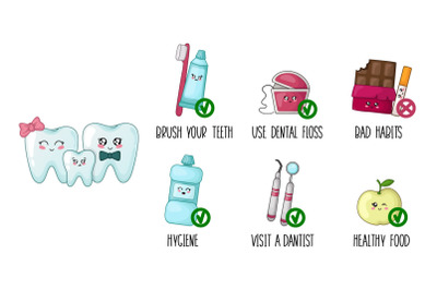 Cartoon kawaii teeth healthy habits