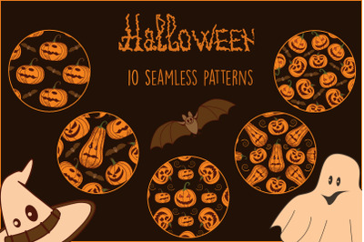 Merry Halloween. Seamless patterns