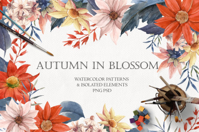 Autumn in Blossom Watercolor patterns and Isolated elements (PNG+PSD)