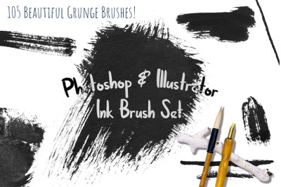 Black Ink Brushes for Adobe Photoshop and Illustrator