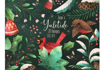 Watercolor Yuletide Clipart
