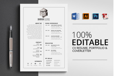CV Resume Word 3 Pages Template