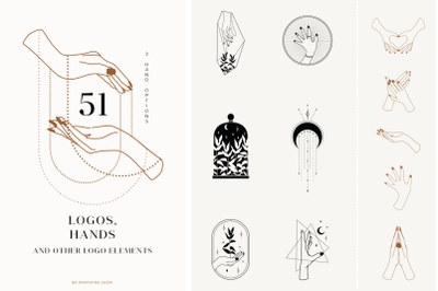 Hands & logos/ Logo templates bundle