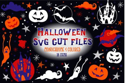 Halloween SVG Cut Files Bundle - Monochrome & Colored