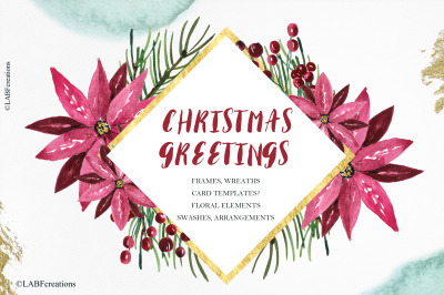 Christmas greetings watercolor clipart