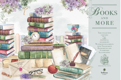 Books and more Watercolor Illustrations