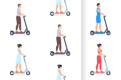 Man and Woman electric scooters
