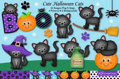 Halloween clipart, Halloween graphics & illustrations, Cats-C39