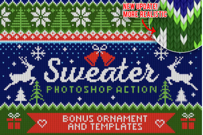 Knitted Ugly Christmas Sweater Photoshop Action - NEW UPDATE