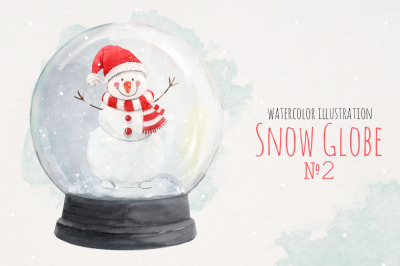 Christmas Snow Globe with cute snowman watercolor isolated print (PNG)