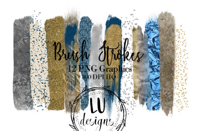 Gold Silver And Navy Brush Strokes Clipart, Glitter Confetti Overlay