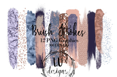 Rose Gold And Blue Brush Strokes, Foil Textures, Paint Strokes