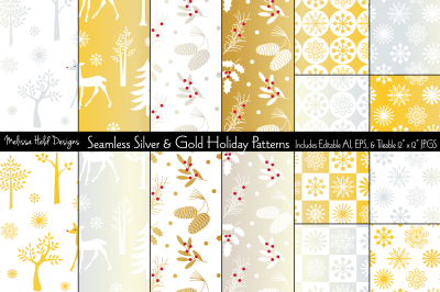 Seamless Silver & Gold Holiday Patterns