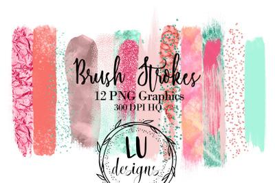 Tropical Brush Strokes, Pink Paint Strokes, Mint Metallic Graphics