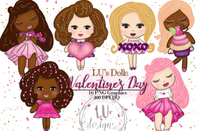 Valentine's Day Clipart, Valentines Dolls, Cute Romantic Girls Graphic