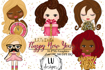 New Year Clipart, New Year Fashion Dolls, Party Cute Clipart