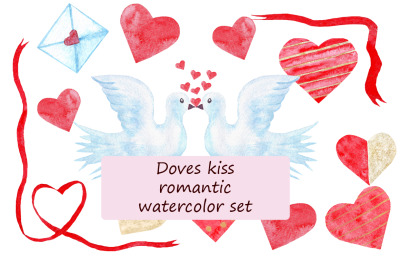 Doves kiss romantic watercolor set