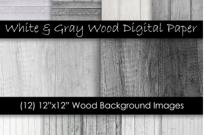 White & Gray Wood Backgrounds - Wood Digital Papers