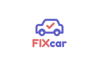 Fixcar, Service car or vehicle logo template