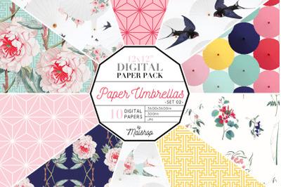 Digital Paper   I   Paper Umbrellas Set 02