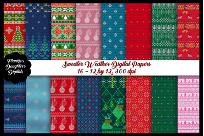 Christmas Sweater Weather Digital Papers