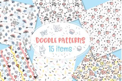 Various Doodle Patterns Vector Bundle