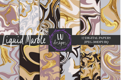 Liquid Marble Digital Papers, Gold Marble Backgrounds