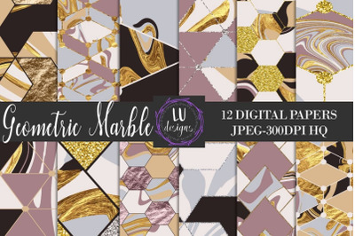 Geometric Marble Digital Papers, Abstract Gold Marble Textures