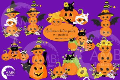 Halloween Pumpkin Totem Pole clipart AMB-2665