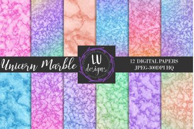Unicorn Marble Digital Papers, Unicorn Rainbow Scrapbook Backgrounds