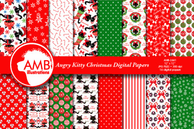 Angry Cat Christmas Patterns AMB-2661
