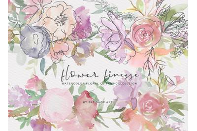 Watercolor Flower Doodles Clipart Set