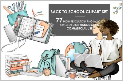 School elements student girl clipart