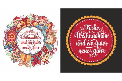 Frohe Weihnachten. Congratulations in German language. Christmas