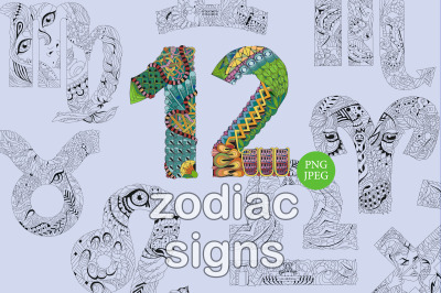 Set of beautiful zodiac signs