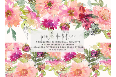 Watercolor Pink Dahlia Clipart Collection