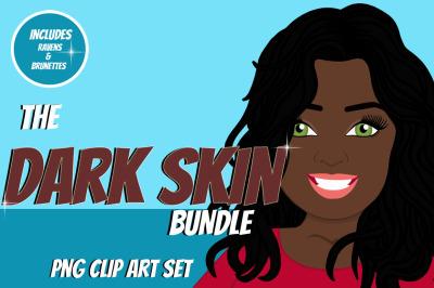 Dark Skin Woman Clip Art Bundle | Character | Avatar | Graphic
