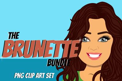 Brunette Woman Clip Art Bundle | Character | Avatar | Graphic