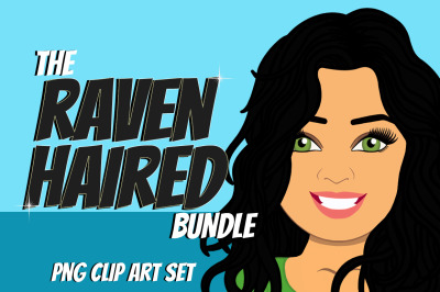 Black Haired Woman Clip Art Bundle | Character | Avatar | Graphic